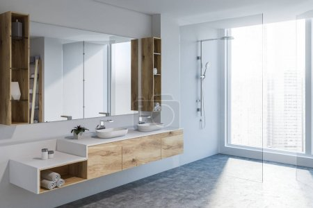 Photo for Modern bathroom corner with white walls, concrete floor, double sink standing on wooden countertop and large mirror. Glass door shower. 3d rendering - Royalty Free Image