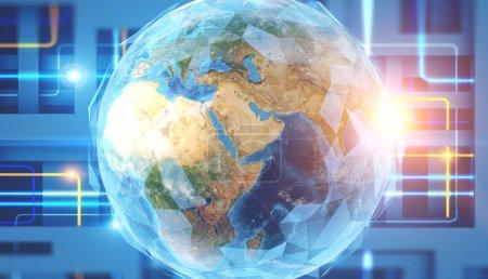 Photo pour Terre polygonale à l'intérieur de l'interface immersive sur fond bleu. Salut concept technologie. rendu 3D aux tons exposition double image des éléments de cette image fournie par la Nasa - image libre de droit