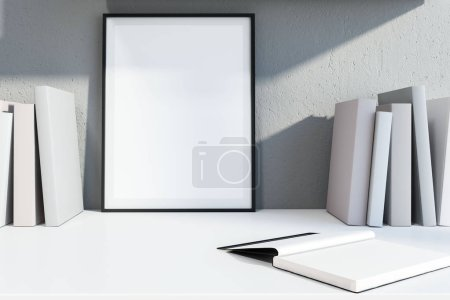 Bookshelf with blank book covers and vertical mock up poster frame leaning against light gray wall. Advertising and marketing concept. 3d rendering
