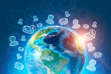 Email icons around Earth over dark blue background. 3d rendering toned image double exposure Elements of this image furnished by NASA