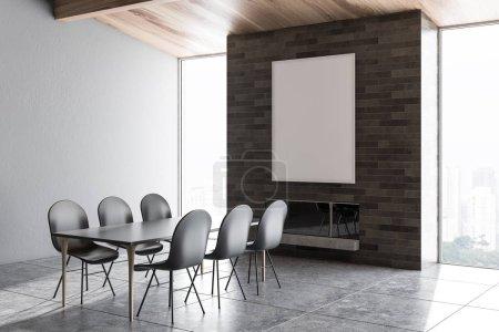 Photo pour Coin grenier salle à manger avec murs gris, sol carrelé gris, table noire avec chaises grises et cheminée. Affiche verticale. Modélisation de rendu 3d - image libre de droit