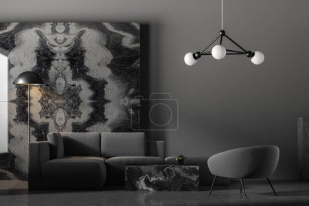 Photo for Luxury living room interior with gray walls, stone floor, gray sofa and armchair standing near black marble coffee table and black marble decoration. 3d rendering - Royalty Free Image