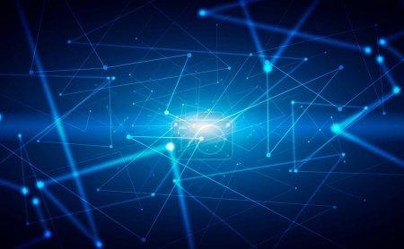 Photo pour Fond bleu abstrait avec des lignes brillantes. Concept de réseau et de connexion. Salut, Tech. Rendu 3d - image libre de droit