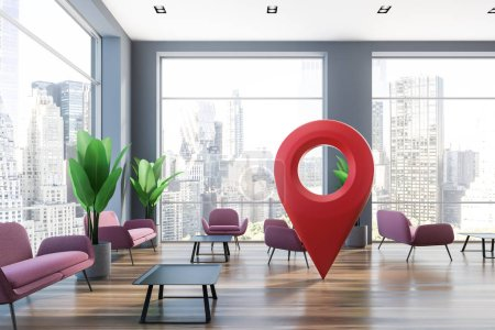 Photo pour Intérieur de bureau salle d'attente avec des fenêtres panoramiques, plancher en bois, roses fauteuils et canapés debout près des tables de café noirs et grand geotag signent au centre. rendu 3D - image libre de droit