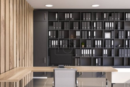 Photo for Interior of modern office with wooden walls, gray tiled floor, original white and wooden computer table and gray bookcase with folders. 3d rendering - Royalty Free Image