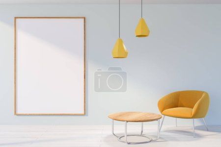 Photo for Interior of living room with white walls, white wooden floor, comfortable yellow armchair near coffee table and vertical poster. 3d rendering mock up - Royalty Free Image