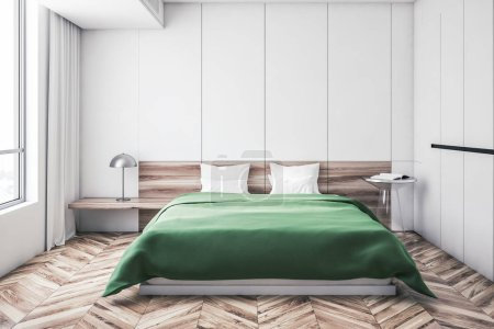 White master bedroom interior, green bed