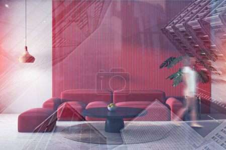 Photo for Young woman in pajamas walking in modern living room interior with white and red walls, concrete floor, soft red sofa and round coffee table. Toned image double exposure blur - Royalty Free Image