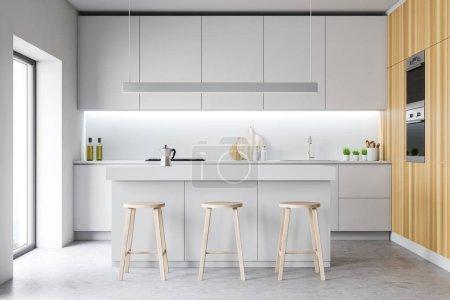 Photo pour Intérieur de cuisine moderne avec fenêtre. 3d Render . - image libre de droit