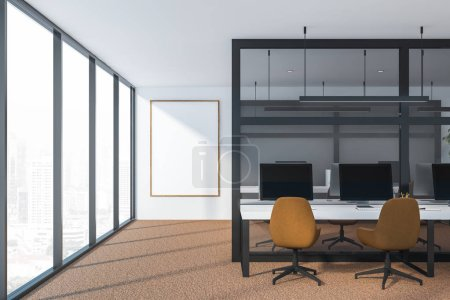 Photo pour Intérieur de bureau sombre moderne avec espace de travail. rendu 3D - image libre de droit