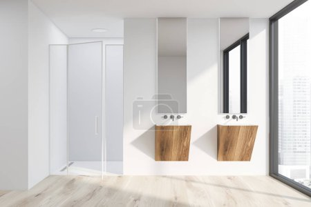 Photo for Interior of modern bathroom with white walls, wooden floor, large window, two wooden sinks with vertical mirrors and shower with glass door. 3d rendering - Royalty Free Image