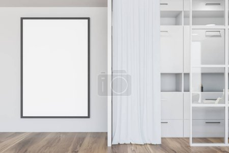 Photo for Modern wooden wardrobe with clothes hanging on rail in walk in closet design interior Mockup. 3D render - Royalty Free Image