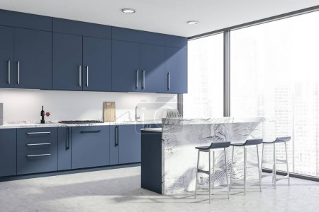 Photo for Corner of stylish kitchen with white walls, concrete floor, panoramic windows and dark blue countertops and cupboards. White bar with stools. 3d rendering - Royalty Free Image