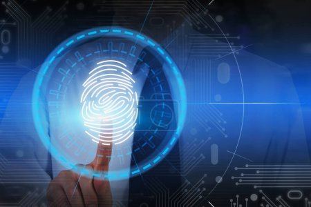 Photo for Unrecognizable businessman in white shirt using fingerprint identification scan. Concept of authentication and online security. Toned image double exposure - Royalty Free Image