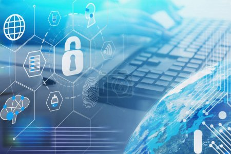 Photo for Woman hands typing on keyboard at table with double exposure of cyber security HUD interface and planet hologram. Concept of data protection. Toned image. Elements of this image furnished by NASA - Royalty Free Image