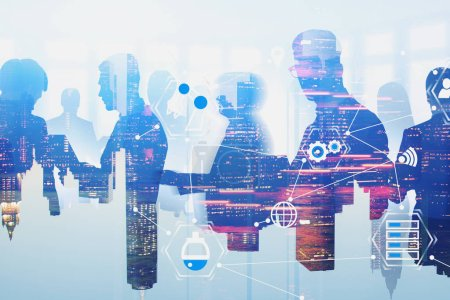 Photo for Silhouettes of business people in city with double exposure of business interface icons. Concept of hi tech and planning. Toned image - Royalty Free Image