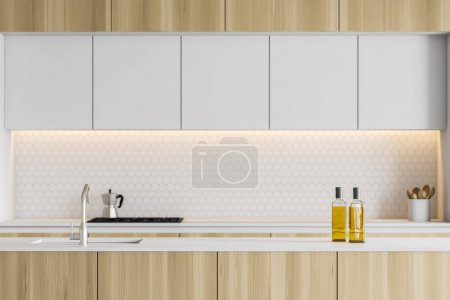 Photo for Close up of modern kitchen interior with white walls, wooden countertops and white cupboards and island with built in sink. 3d rendering - Royalty Free Image
