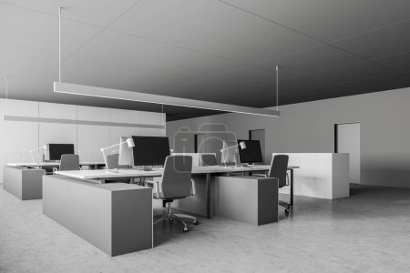 Gray and white office corner with doors