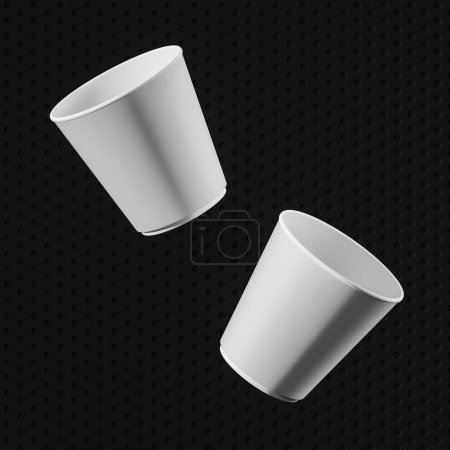 Photo for Two blank white paper cups falling over black geometric background. Concept of packaging and advertising. 3d rendering, mock up - Royalty Free Image