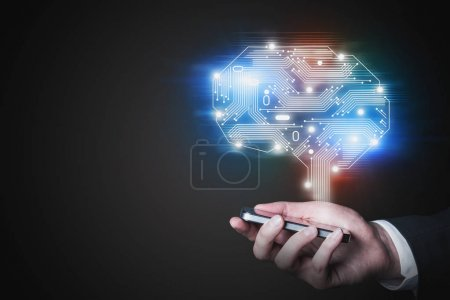 Photo for Side view of man hand with phone and electronic brain hologram. Concept of artificial intelligence and machine learning. Toned image mock up - Royalty Free Image