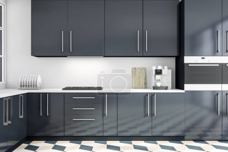 Photo for Interior of modern kitchen with white walls, tiled floor, gray countertops with built in cooker and oven and coffee machine. 3d rendering - Royalty Free Image