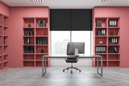Pink manager office interior with bookcases