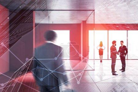 Photo pour Les gens d'affaires marchent et se serrent la main dans le hall de bureau moderne avec murs rouges et plancher et fenêtres panoramiques. Concept de style de vie entreprise. Image tonique double exposition floue - image libre de droit