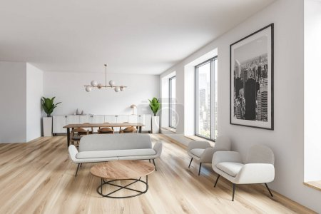 Photo for Interior of spacious living room with white walls, wooden floor, white sofas and armchairs near coffee table and dining table with chairs in background. 3d rendering - Royalty Free Image