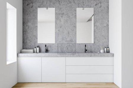 Photo pour Intérieur de salle de bain élégante avec murs en pierre et blanc, plancher en bois, double lavabo debout sur le comptoir blanc et deux miroirs verticaux. Rendu 3d - image libre de droit