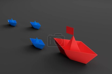 Leadership concept, red and blue paper ships
