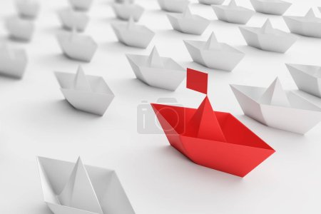 Photo for Big red paper ship among white ones on white background. Concept of business leadership and innovation. Teamwork and choice. 3d rendering - Royalty Free Image
