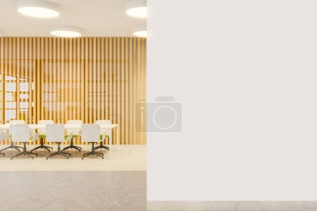 Photo for Interior of modern bright meeting room with white, wooden and glass walls, concrete floor, long white table with bright green chairs and mock up wall. 3d rendering - Royalty Free Image