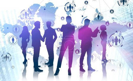 Photo for Silhouettes of diverse business people standing in modern city with double exposure of HR icons and world map. Globalization concept. Toned image. Elements of this image furnished by NASA - Royalty Free Image
