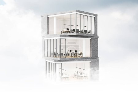 Photo for Model of modern skyscraper with offices inside it. Cloudy sky background. Concept of architecture and design. 3d rendering - Royalty Free Image