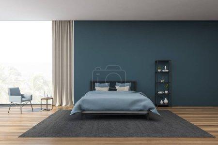 blaues Schlafzimmerinterieur mit Sessel