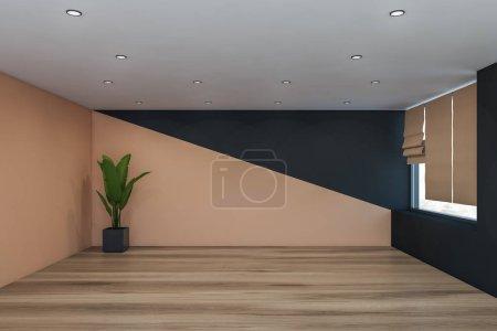Photo pour Intérieur de la chambre vide avec des murs beige et gris, sol en bois, fenêtre avec stores et plante en pot dans le coin. Rendu 3d - image libre de droit