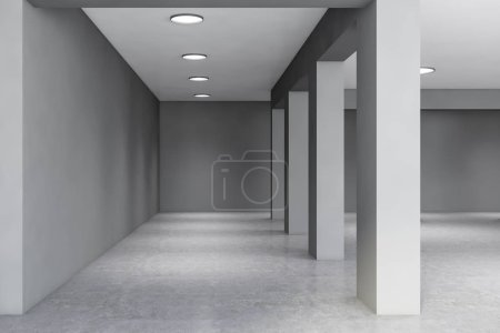 Photo for Interior of empty office building in industrial style with gray walls, arches, concrete floor and round lamps. Concept of interior design. 3d rendering - Royalty Free Image