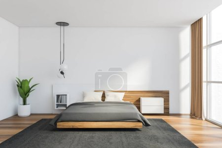 Photo for Interior of modern Scandinavian style bedroom with white and wooden walls, comfortable king size bed, panoramic window and bookshelf. 3d rendering - Royalty Free Image