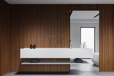 Photo for Interior of modern Scandinavian style bathroom with white and wooden walls, concrete floor and big white sink with vertical mirror. 3d rendering - Royalty Free Image