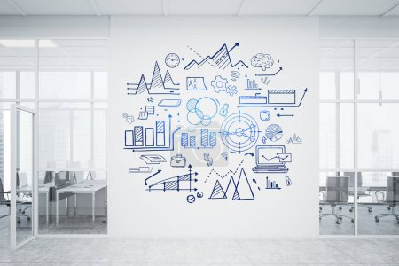 Photo for Creative business plan sketch drawn on white wall in modern office with open space area and meeting room. Blurry cityscape. Concept of business strategy. 3d rendering toned image - Royalty Free Image