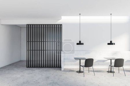Photo for Interior of stylish restaurant with white and black walls, concrete floor, stone bench and black chairs standing near square tables. 3d rendering - Royalty Free Image
