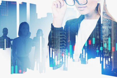 Photo for Unrecognizable young businesswoman in glasses and her team working together in blurry abstract city with double exposure of digital graph. Concept of stock market. Toned image - Royalty Free Image