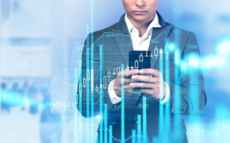 Photo for Unrecognizable young businessman using his smartphone in blurry office with double exposure of digital graph. Concept of stock market and analytics. Toned image - Royalty Free Image