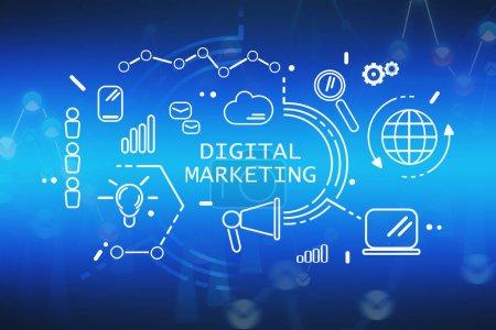 Photo pour Interface de marketing numérique HUD immersive sur fond bleu vif flou. Concept de commerce électronique. rendu 3d image tonique double exposition - image libre de droit