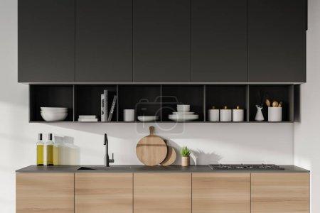 Photo pour Intérieur de cuisine moderne avec murs blancs, placards gris et armoires en bois avec plaque de cuisson et évier intégrés. Rendu 3d - image libre de droit
