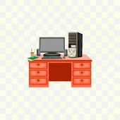 desktop computer vector illustration on white background