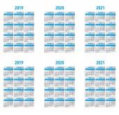 Calendar 2019 2020 2021 year Week starts on Sunday and monday