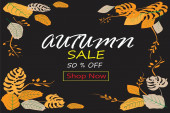 A background template and sign of autumn sale for postersbrochuresstickerslabels and publications