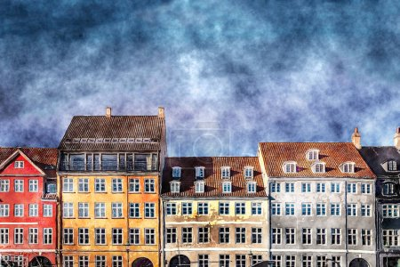 Photo for Painted houses with windows and blue sky with clouds - Royalty Free Image