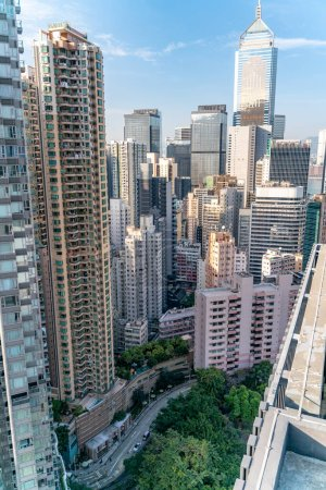 Photo for The amazing view of Hong-Kong cityscape full of skyscrapers from the rooftop. - Royalty Free Image